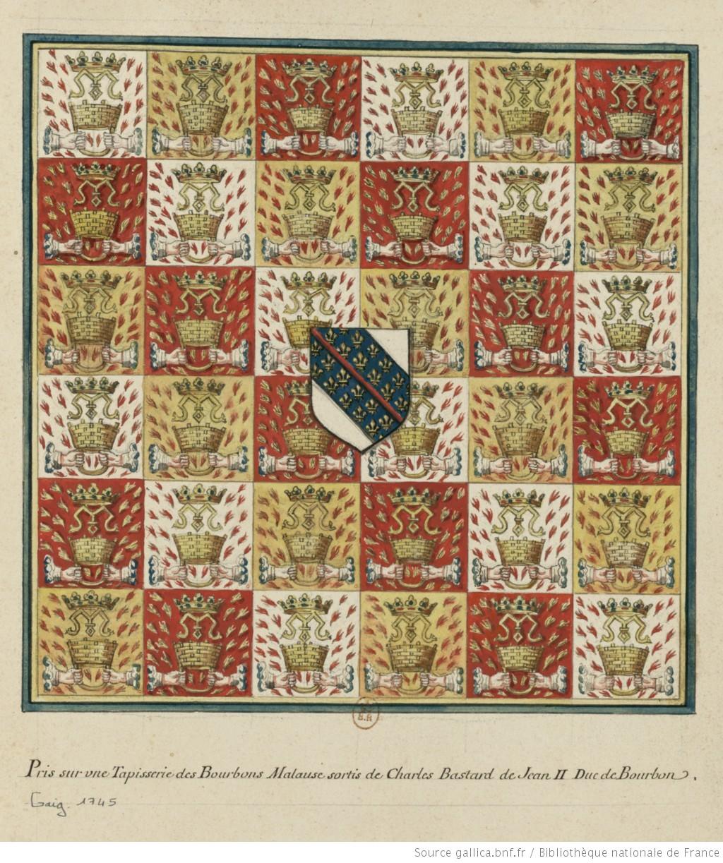 Armoiries de Charles, bâtard de Jean II de Bourbon, bâtard.