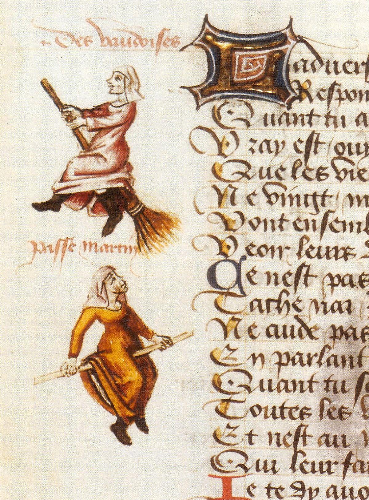Enluminure représentant le vol de deux sorcières sur un balai et un bâton, dans Le Champion des dames de Martin Le Franc, 1451.