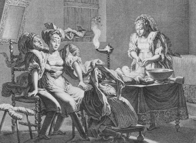 Femme ayant accouché à domicile par Sonnini de Manoncourt dans son ouvrage « Voyage en Grèce et en Turquie… », Paris 1801