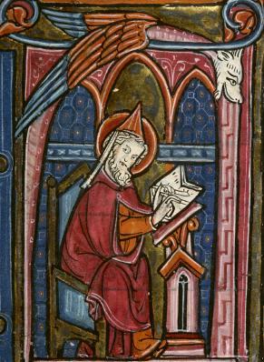 Saint-Grégoire de Tours écrivant. Missel de Besançon (XIVème siècle).