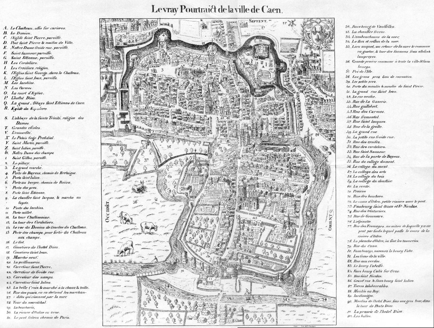 """""""Le vray pourtraict de la ville de Caen"""", dans Belleforest François, La Cosmographie universelle de tout le monde, Paris, Nicolas Chesneau, 1575."""