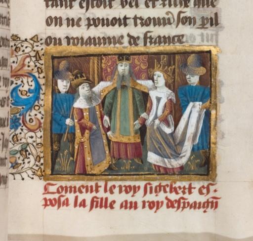 Mariage de Sigebert Ier et Brunehaut. Grandes chroniques de France. Manuscrit du XVe siècle
