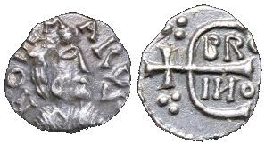 Denier d'Ebroïn au nom du monétaire Rodemarus, frappé à Paris. BNF, monnaies, médailles et antiques. Avers : Buste à droite. Revers : Monogramme d'Ebroïn