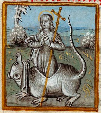 Sainte Marguerite et le dragon, Pierpont Morgan Library MS. M33, fol. 239r - Livre d'Heures, France (probablement Mons), vers 1490 - 1500