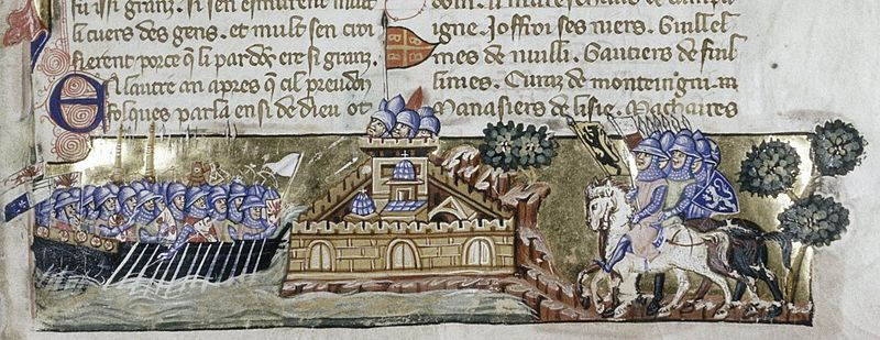 Oxford-Bodleian Library. MS. Laud. Misc. 587 fol. 1r-Attaque des croisés contre Constantinople