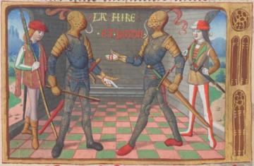 La Hire et Poton de Xaintrailles (BnF, fr. 5054, fol. 18v : Martial d'Auvergne, Vigiles de Charles VII, 1484)