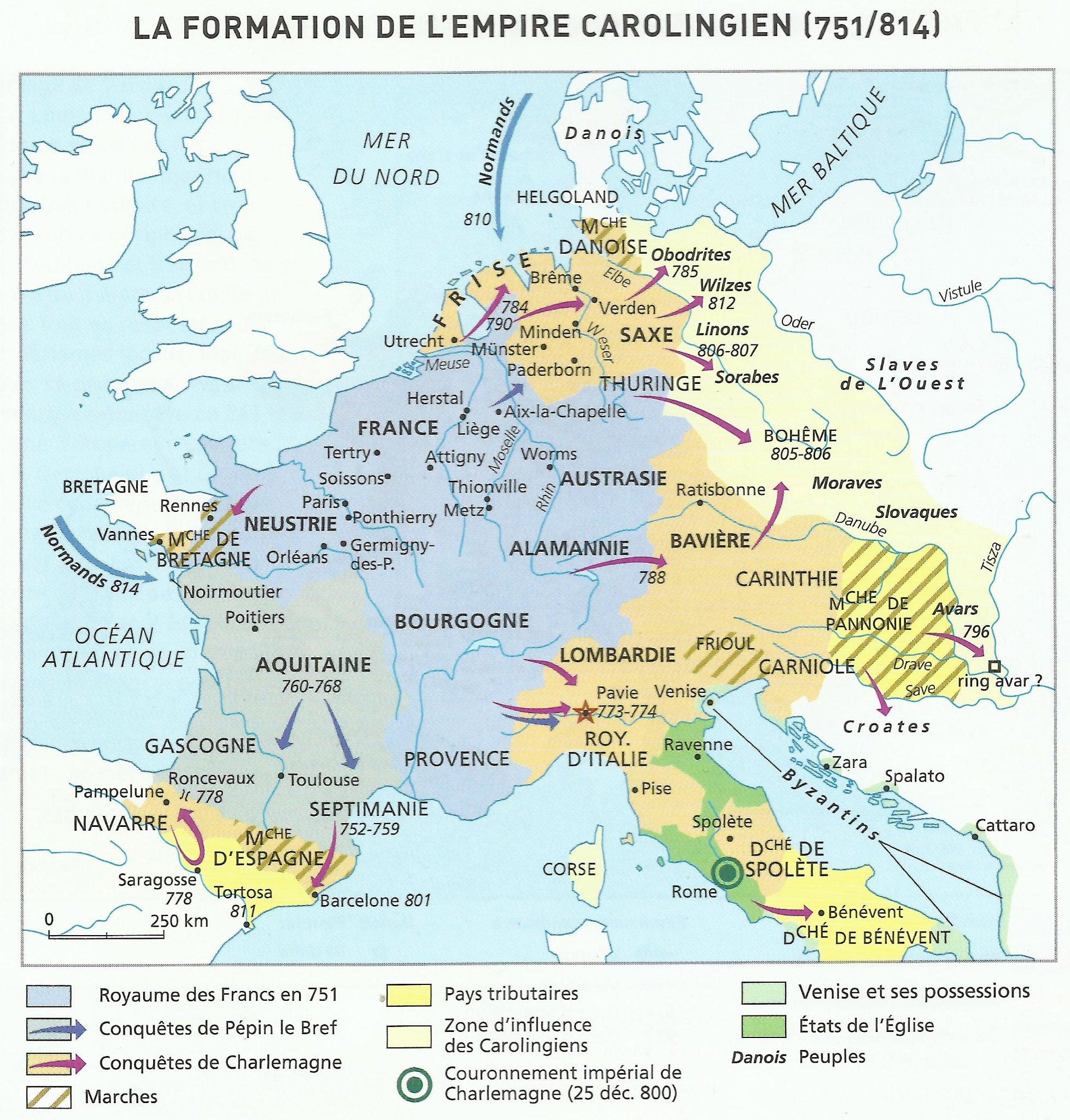 La formation de l'Empire carolingien (751/814) (Duby Georges, Atlas Historique Duby, Paris, Larousse, 2010)