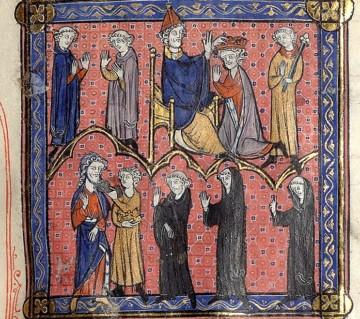 Pépin le Bref couronné par le pape Étienne II tandis que Childéric III est déposé. Enluminure des Chroniques de Saint-Denis, Paris, Bibliothèque Sainte-Geneviève, ms. 782, fo 107 ro, XIIIe siècle.