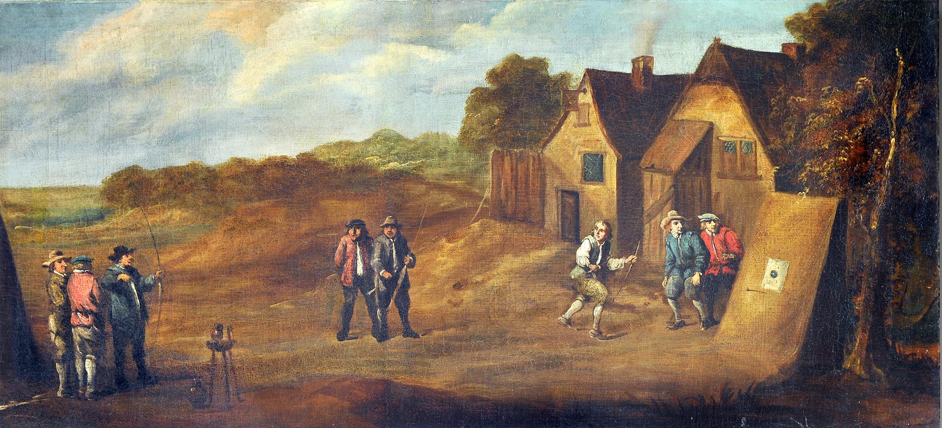 Le tir aux buttes, ou Le tir à l'arc aux berceaux. Toile attribuée à TENIERS David, 17e siècle