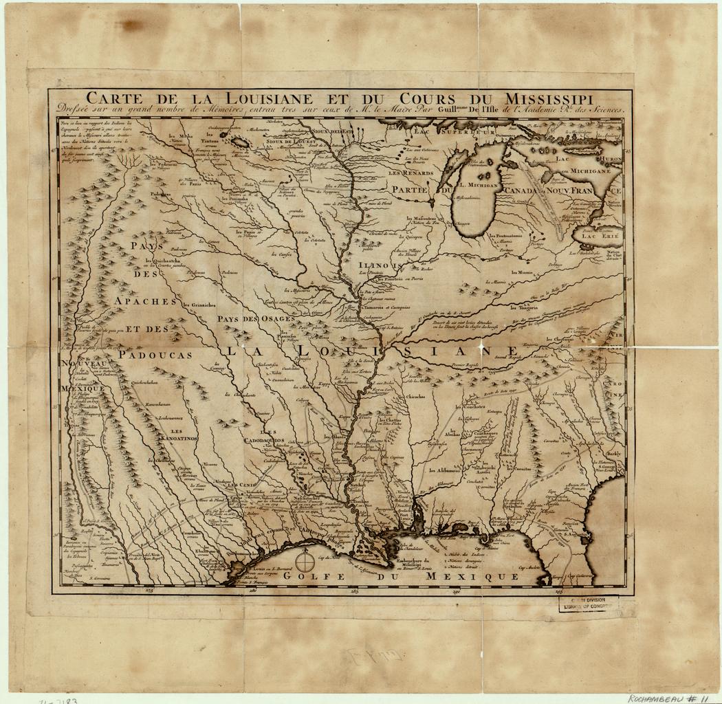 Carte de la Louisiane et du cours du Mississippi, dressée à partir d'un grand nombre de mémoires, dont ceux de Monsieur Le Maire, par Guillaume de L'Isle de l'Académie royale des sciences