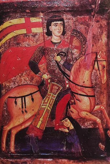 Icône de Saint-Serge du monastère de Sainte-Catherine (Sinaï) représentant une femme croisée (XIIIème siècle)