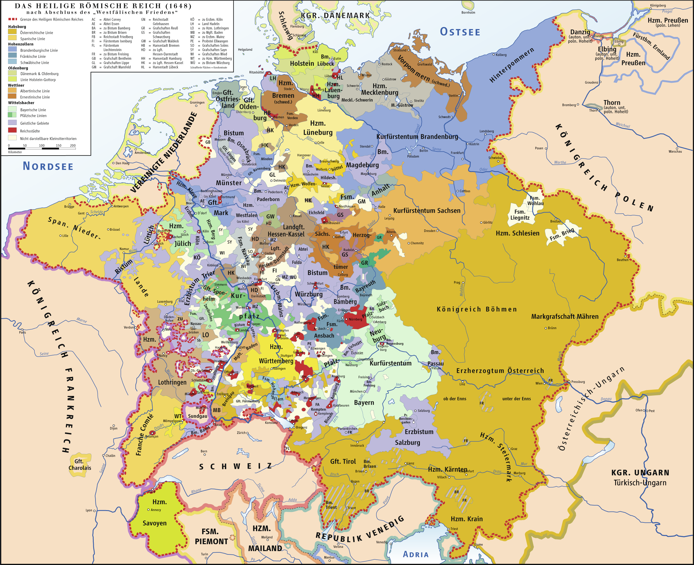 Carte simplifiée du Saint-Empire romain germanique
