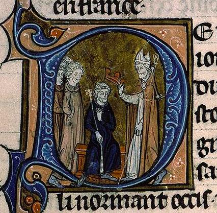 Couronnement du roi Eudes. Enluminure ornant les Grandes Chroniques de France, XIIIe siècle.