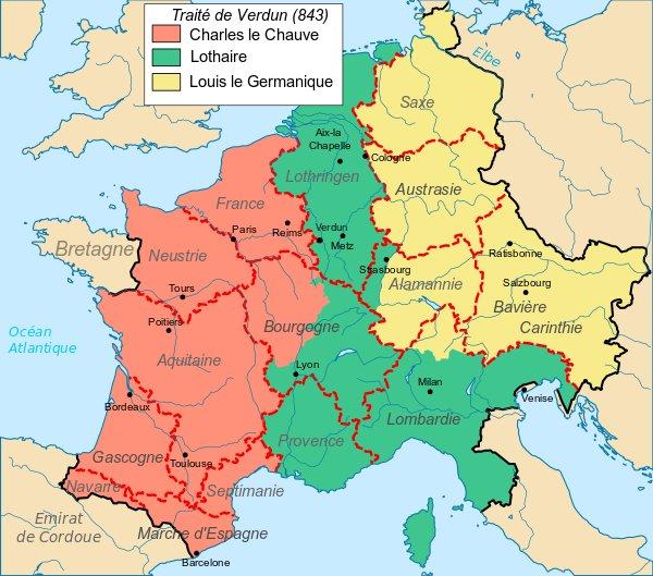 La séparation de l'empire lors du traité de Verdun en 843