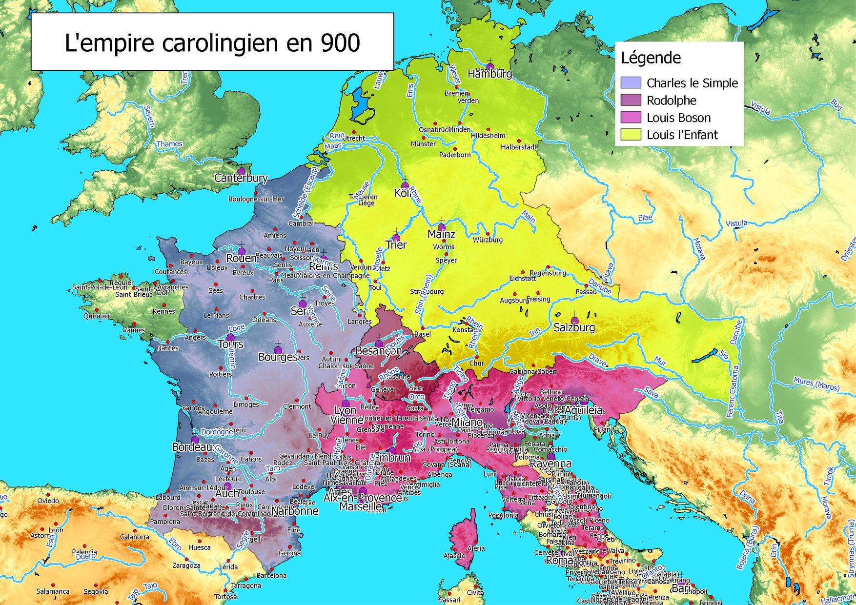 L'empire carolingien en 900