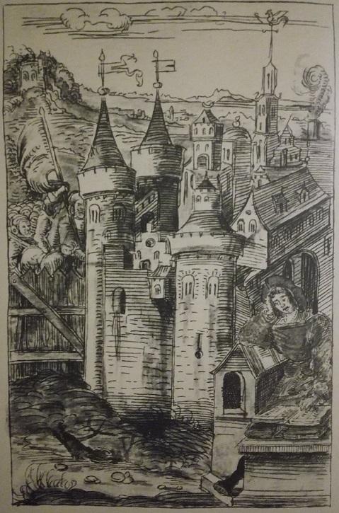 Philippe de Vigneulles rédigeant sa Chronique, Dessin de la main de l'auteur, appartenait au manuscrit 839 (89) de la Chronique, aujourd'hui disparu. Brunswick, Maine, U.S.A.