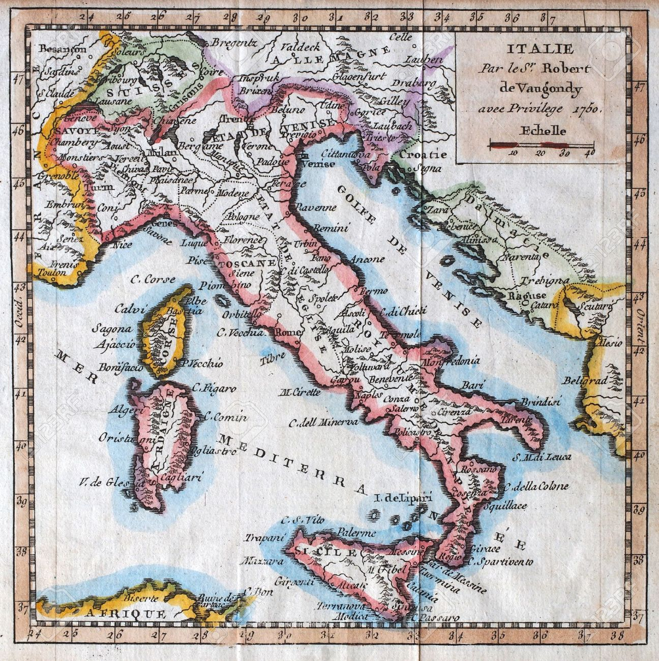 Carte de l'Italie, par le géographe royal français Vaugondy