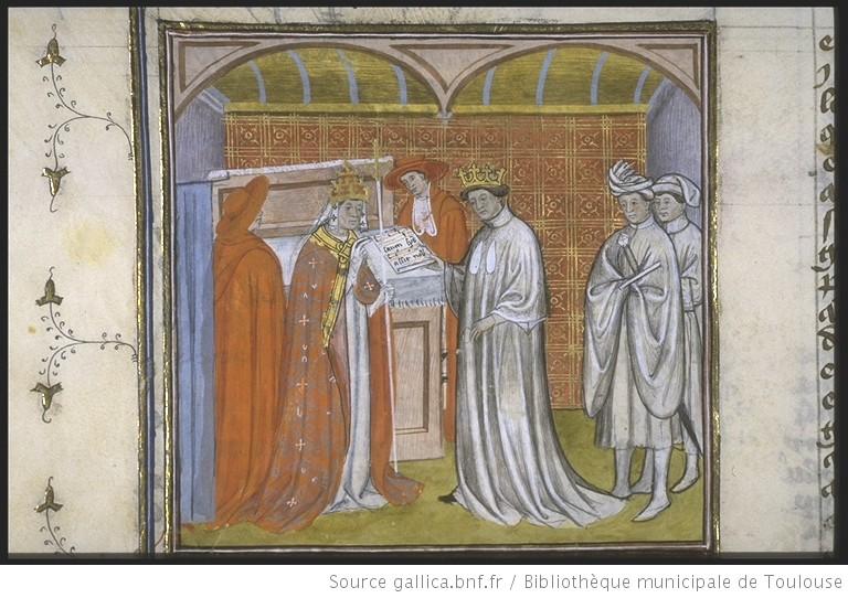 Robert le Pieux remettant un écrit au pape (Grégoire V ou Silvestre II) (Source gallica.bnf.fr / BnF)