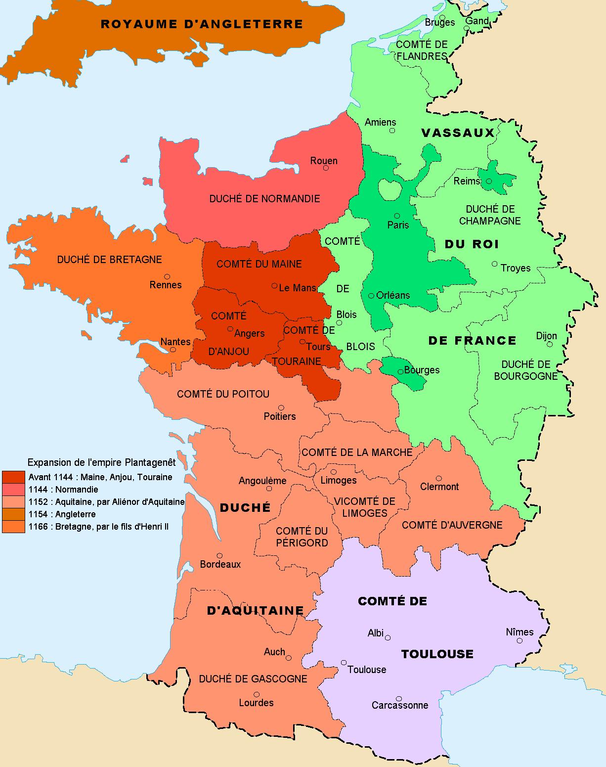 Carte de la France du XIIème siècle