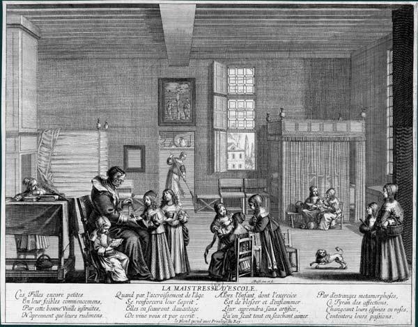 Abraham Bosse, La maîtresse d'école, eau-forte, v. 1638, (source site de la BNF : http://expositions.bnf.fr/bosse/grand/161.htm)