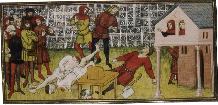 Décapitation avec malaise du bourreau Raoulet, Grandes Chroniques de France ou Chroniques de Saint Denis (de 1270 à 1380). Ms. Royal. 20. C. VII. f. 133V.
