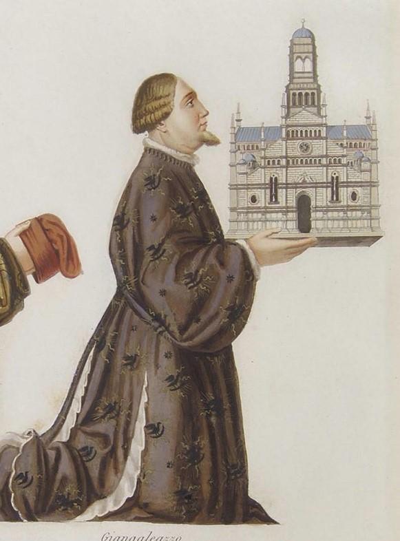 Détail d'une peinture du « Bergognone » : Gian Galeazzo Visconti (le fils de Blanche et Galeazzo II) présentant la maquette de la Chartreuse de Pavie à la Vierge, années 1480-90