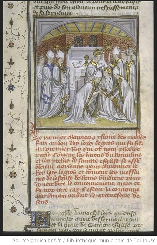 Couronnement de Louis VI le Gros à Laon, Ms 512 - fol. 193v (Bibliothèque municipale de Toulouse)