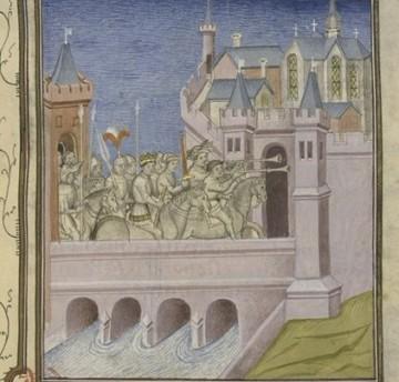Louis VII le Jeune rentrant (à Paris ?) à la mort de son père Louis VI, Ms 512 - fol. 214r, Bibliothèque municipale de Toulouse (Source gallica.bnf.fr / BnF)