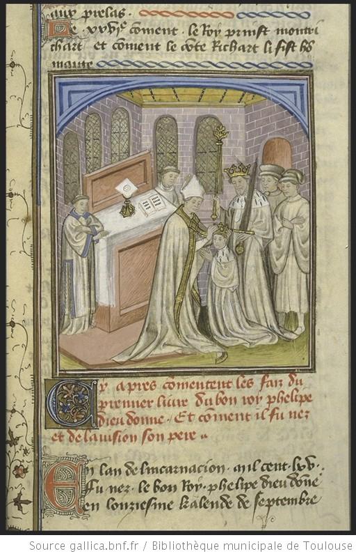 Philippe Auguste sacré roi du vivant de son père Louis VII par l'archevêque de Rouen (1179), Ms 512 – fol. 226r (Bibliothèque municipale de Toulouse (Source gallica.bnf.fr / BnF)
