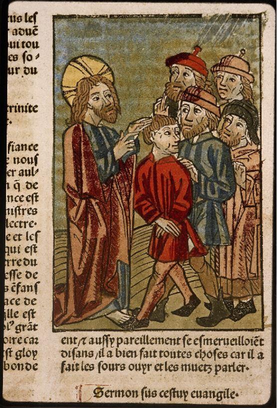 « Guérison du sourd-muet », gravure colorée, Lyon, BM, Inc. 1043, folio : f. 508, 1482