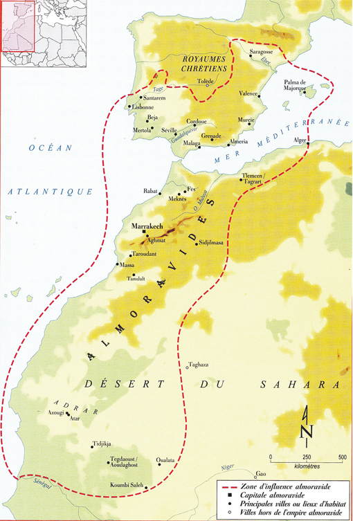 Carte de l'empire almoravide