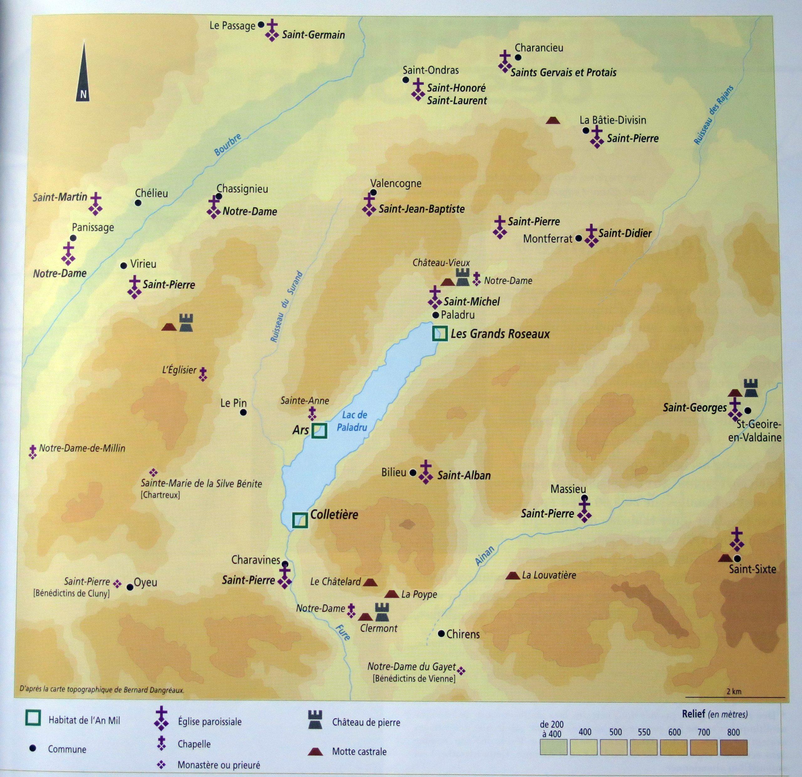 Cartes des sites du XIème au XIIIème siècle autour du lac de Paladru (PEMF)