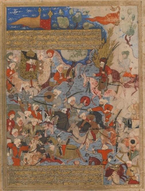 Miniature safavide représentant la bataille du Chameau (656) entre 'Alī et le parti mecquois. Illustration d'un ouvrage de Mirkhwand (m. 1498) réalisée en 1571.