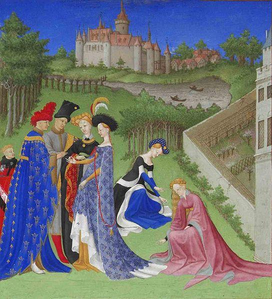 """Détail du mois d'Avril du manuscrit """"Les Très Riches Heures du duc de Berry"""" (XVe siècle)"""