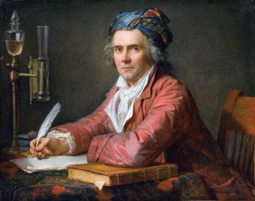 Portrait du docteur Alphonse Leroy (médecin accoucheur, dans son cabinet de travail, accoudé sur un ouvrage d'Hippocrate), par Jacques-Louis David en 1783. Musée Fabre, Montpellier