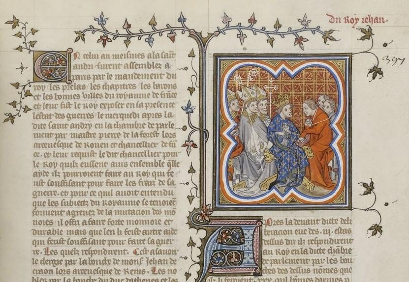 Grandes Chroniques de France. C'est le manuscrit Français 2813 de la BnF au folio 397r