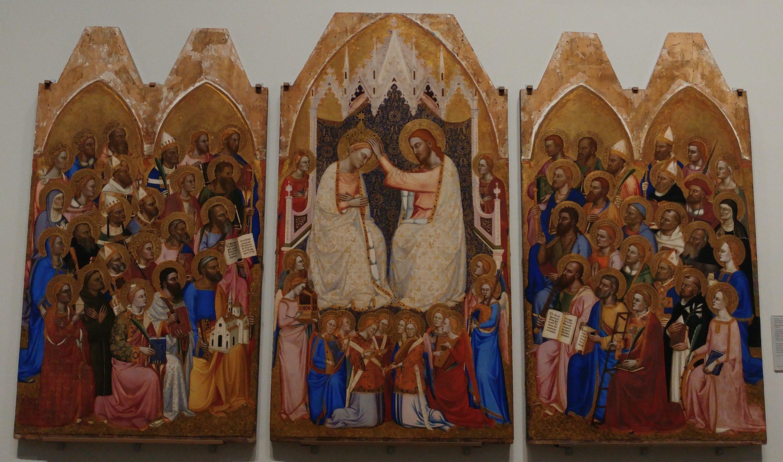 Couronnement de la Vierge de Jacopo di Cione conservé à la National Gallery de Londres et datant de 1370-1371