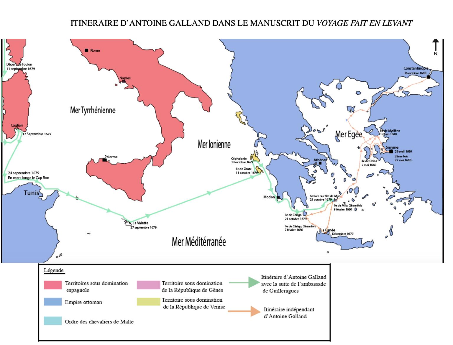 Carte du troisième voyage d'Antoine Galland, réalisée par Sabrina Vincent