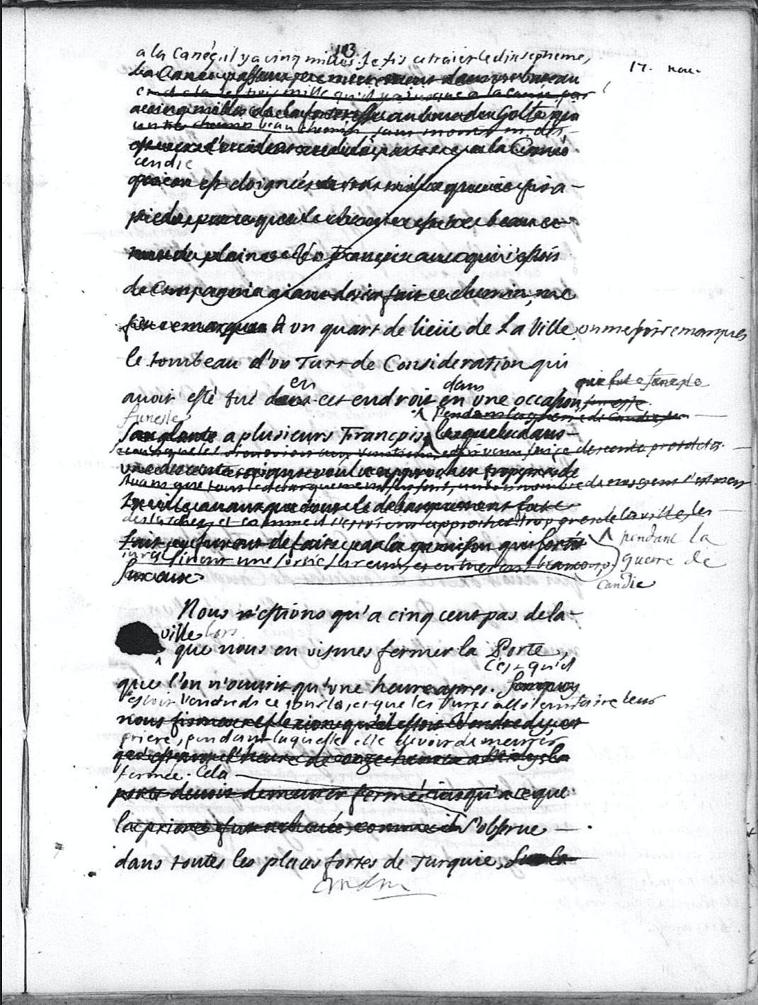 Feuillet de manuscrit de la main d'Antoine Galland