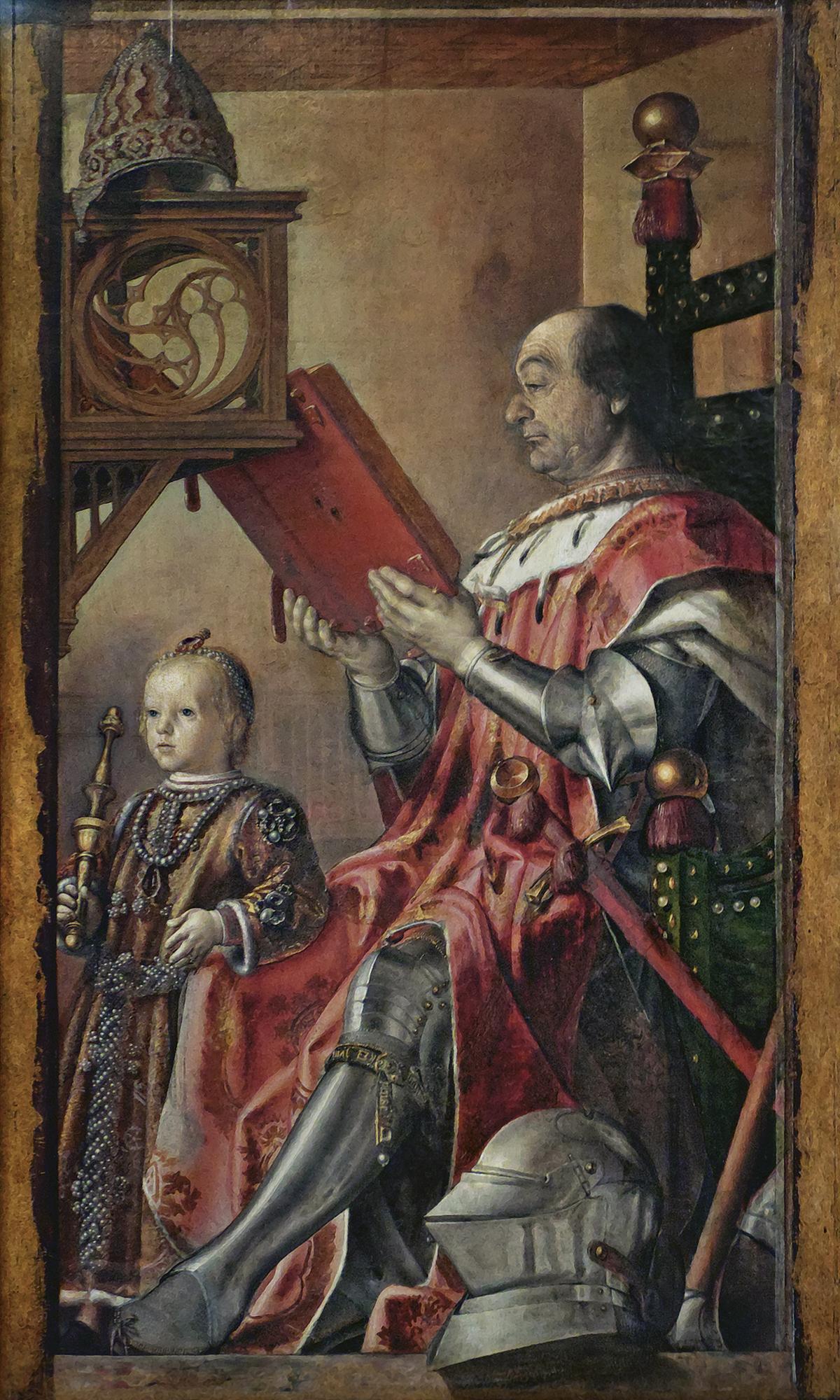 Portrait de Federico da Montefeltro et de son fils Guidobaldo, (1474-1477, conservé à la Galleria Nazionale delle Marche (Palais d'Urbino, Urbino)