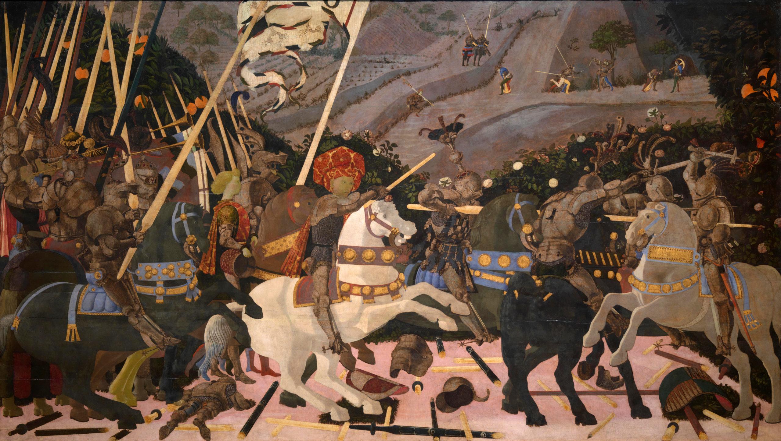 Paolo Uccello, La Battiglia di San Romano : Niccolo Mauruzi da Tolentino à la tête de ses troupes, (~1456) détrempe sur bois de 3,20 × 1,82 m (National Gallery, Londres).