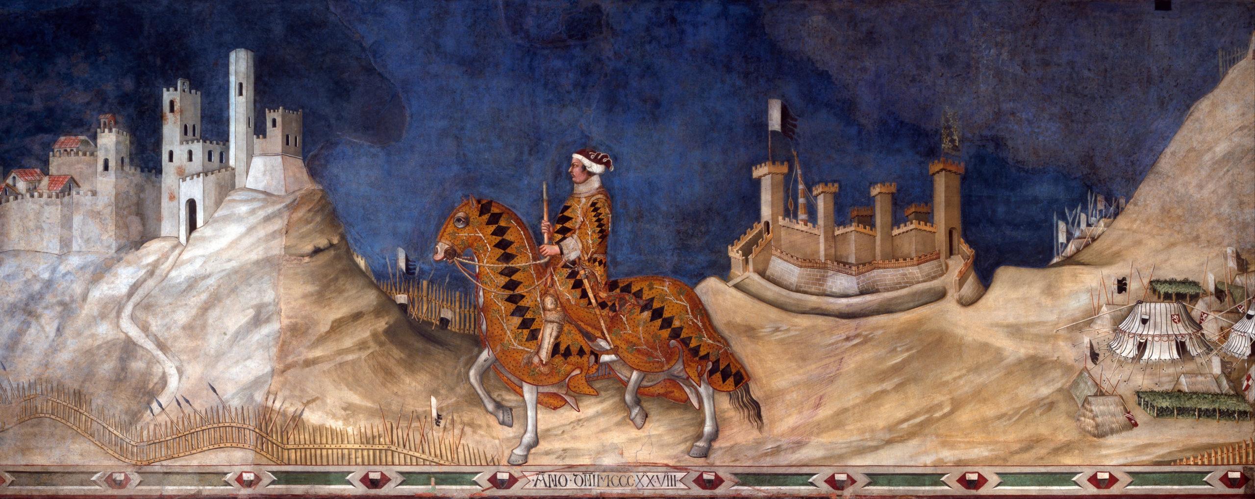 Simone Martini, Guidoriccio da Fogliano all'assedio di Montemassi, Palazzo Pubblico de Sienne (Toscane)