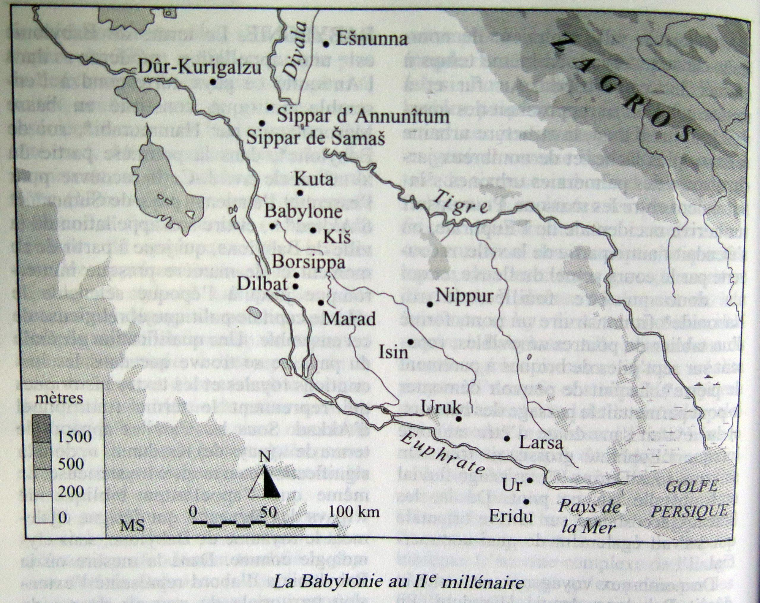 Carte de la Babylonie au IIe millénaire dans le Dictionnaire de la civilisation mésopotamienne, Paris : Laffont, 2001.