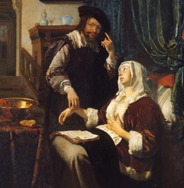 Frans van Mieris l'Ancien (Leyde, 1635 – Leyde, 1681), La visite du médecin ou La malade d'amour (Het bezoek van de arts of De zieke vrouw), 1657, huile sur cuivre, (34 cm x 27 cm), Vienne, Kunsthistorisches Museum.