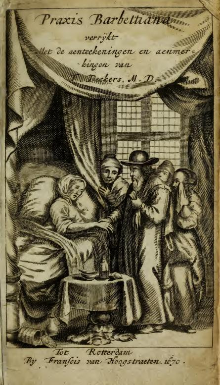 2.Le frontispice de la Genees-Oeffening de Paul Barbette, graveur anonyme, vers 1670.