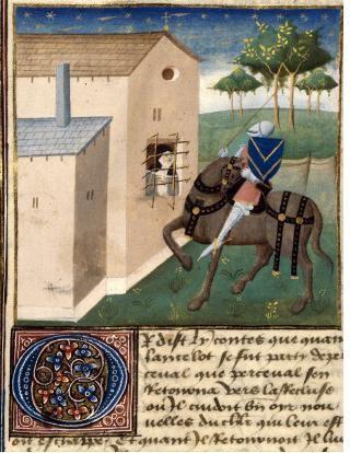 Perceval et la recluse, Manuscrit de Tristan en prose, vers 1450, BM de DIJON, Ms. 0527 folio 084.