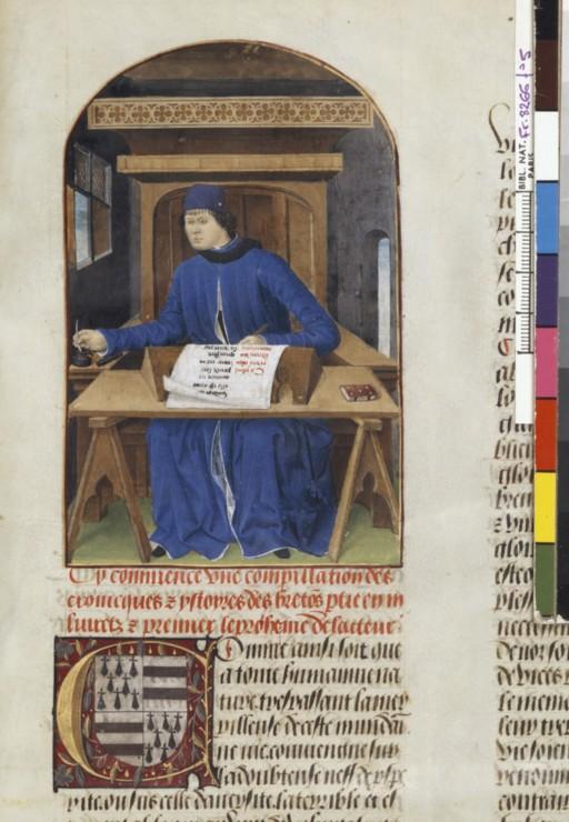Pierre Le Baud écrivant son Histoire de Bretagne (XV e siècle), BnF, ms. fr. 8266, f. 5.