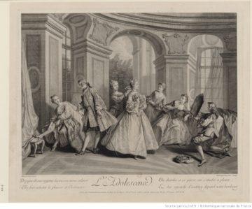 Nicolas Lancret, L'Adolescence, 1707-1708, Paris, N. De Larmessin, estampe. Bibliothèque Nationale de France. [en ligne]. https://gallica.bnf.fr/ark:/12148/btv1b84087496.r=adolescence?rk=85837;2