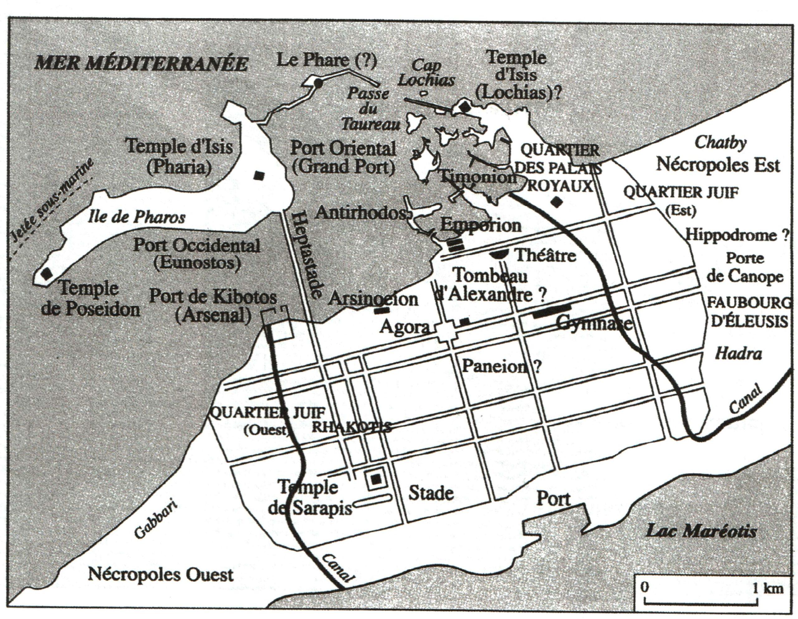 Un plan d'Alexandrie à l'époque des Ptolémées Source : B. LEGRAS, L'Egypte grecque et romaine, Paris, Armand Colin, 2004).