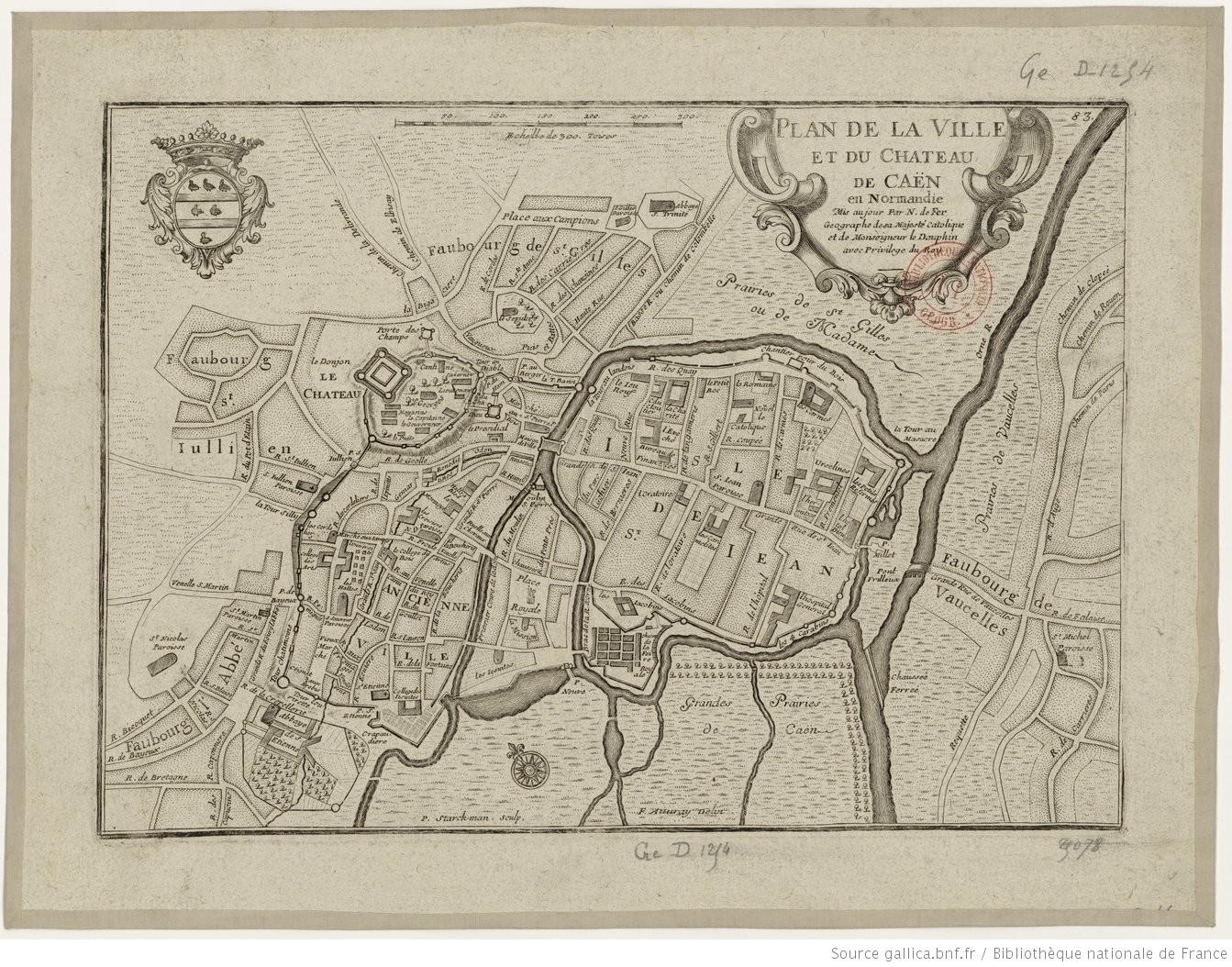 Plan de la ville et du château de Caen en Normandie